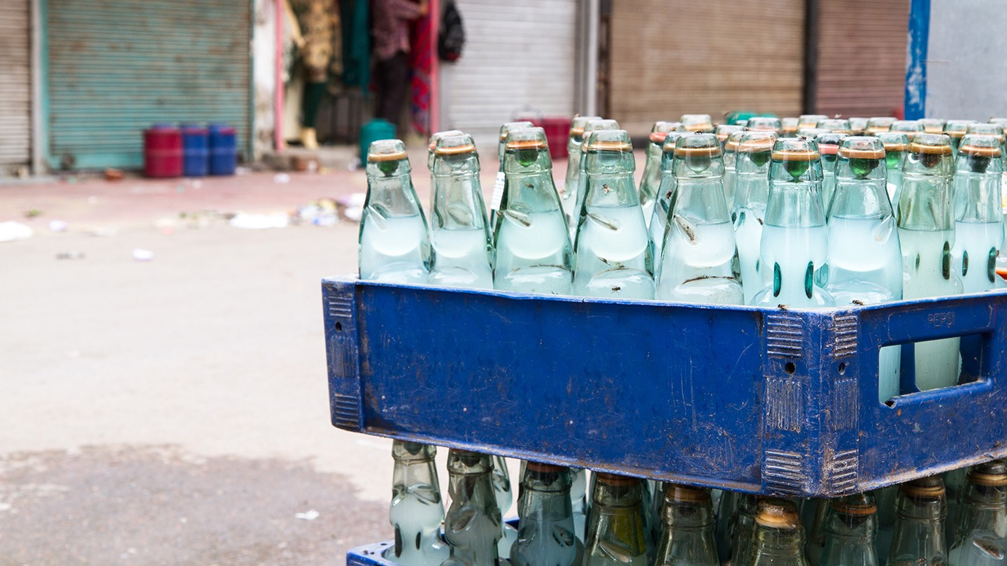 Bottled water for sale in India.
