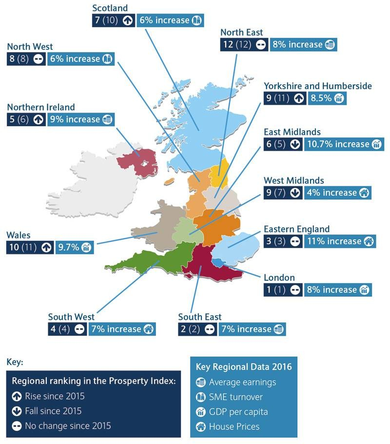 Barclays Prosperity Map - showing the Prosperity Index Score for each UK region