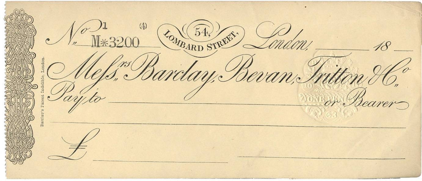 Barclays cheque 1863