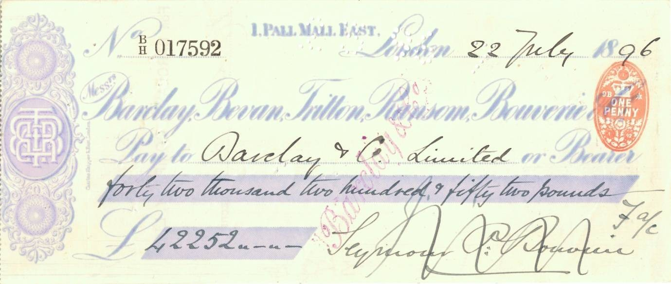 Barclays cheque 1896