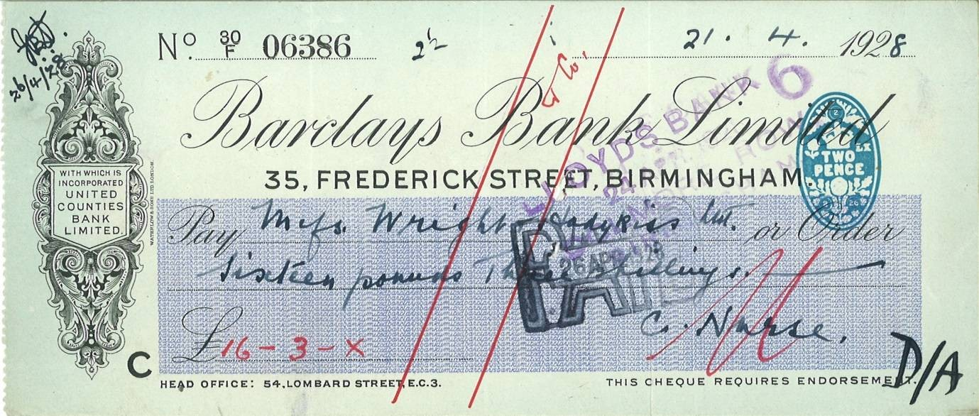 Barclays cheque 1928