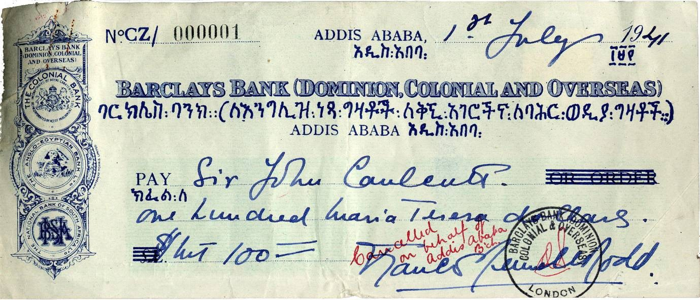 Barclays cheque 1944