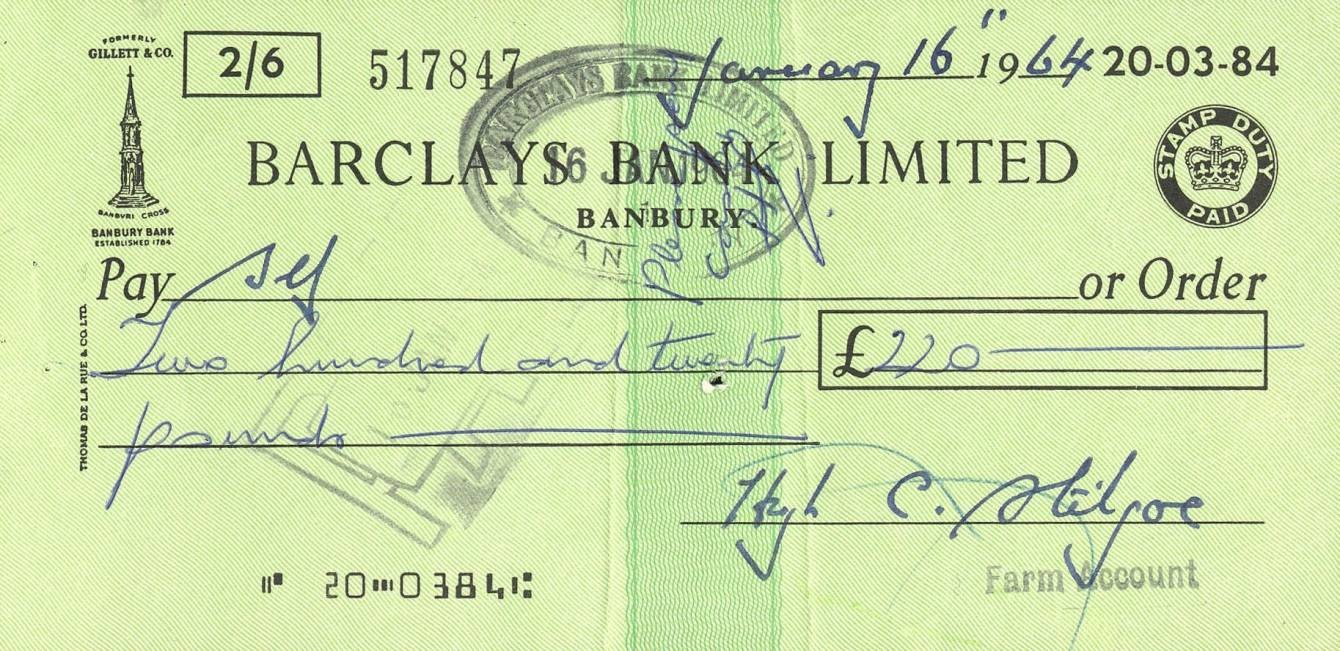 Barclays cheque 1964