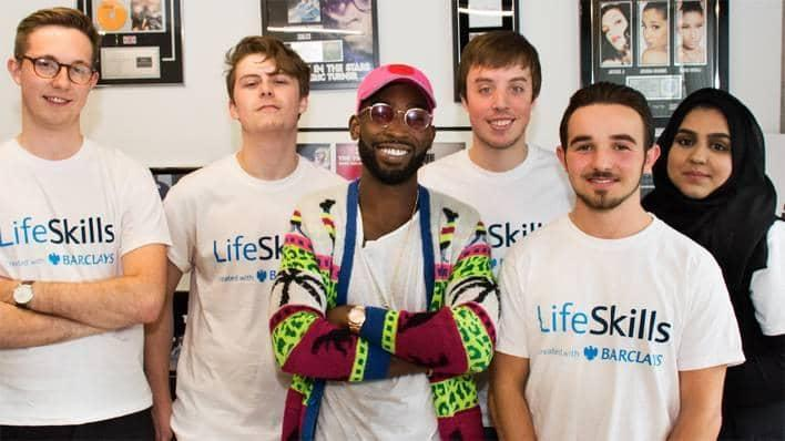 Tinie Tempah with life skills people