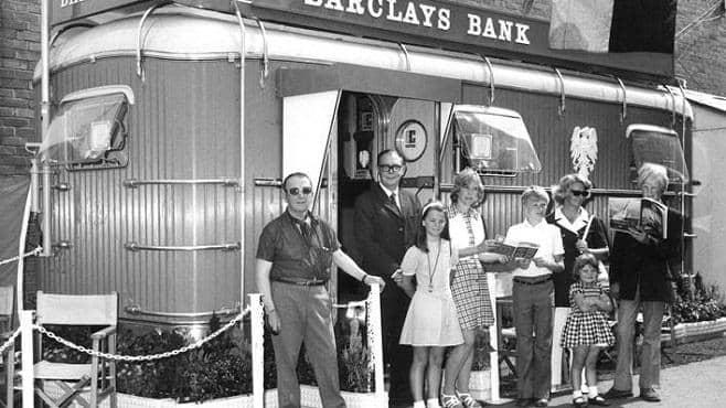 A mobile Barclays Bank branch