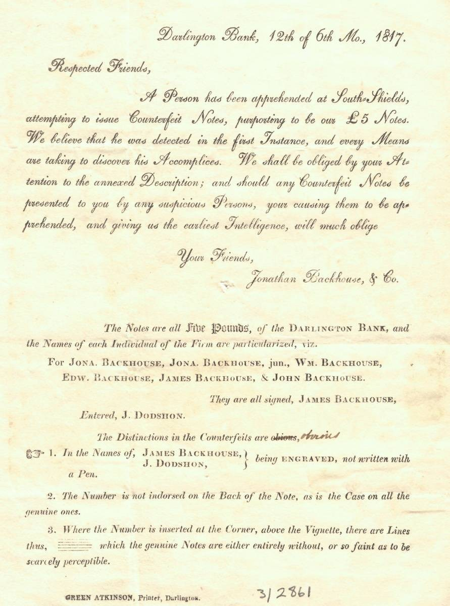 Circular from Backhouse's Bank on counterfeit notes