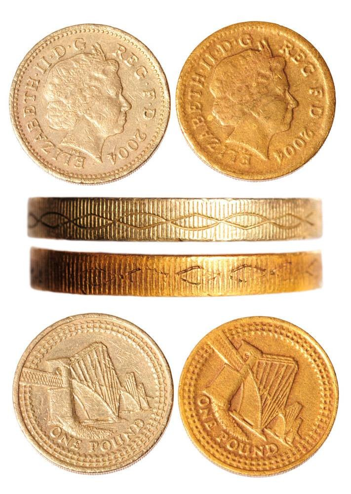 Comparing genuine and fake £1 coins