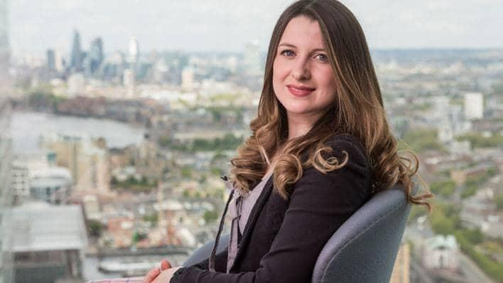 Isabel Cooke, Barclays' Blockchain Research & Development Delivery Manager, with London skyline
