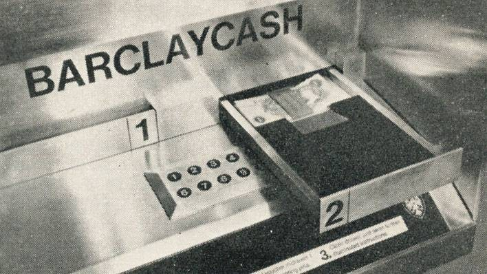 The cheque drawer in the world's first ATM