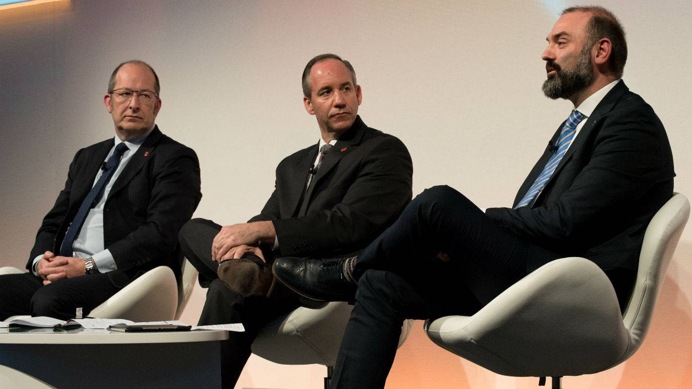 Christopher Greany, Royce Curtin and Mike Butler at Barclays new frontier conference