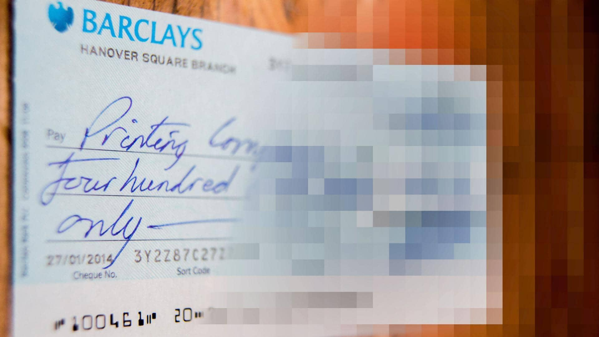 A cheque with a blur effect applied to it