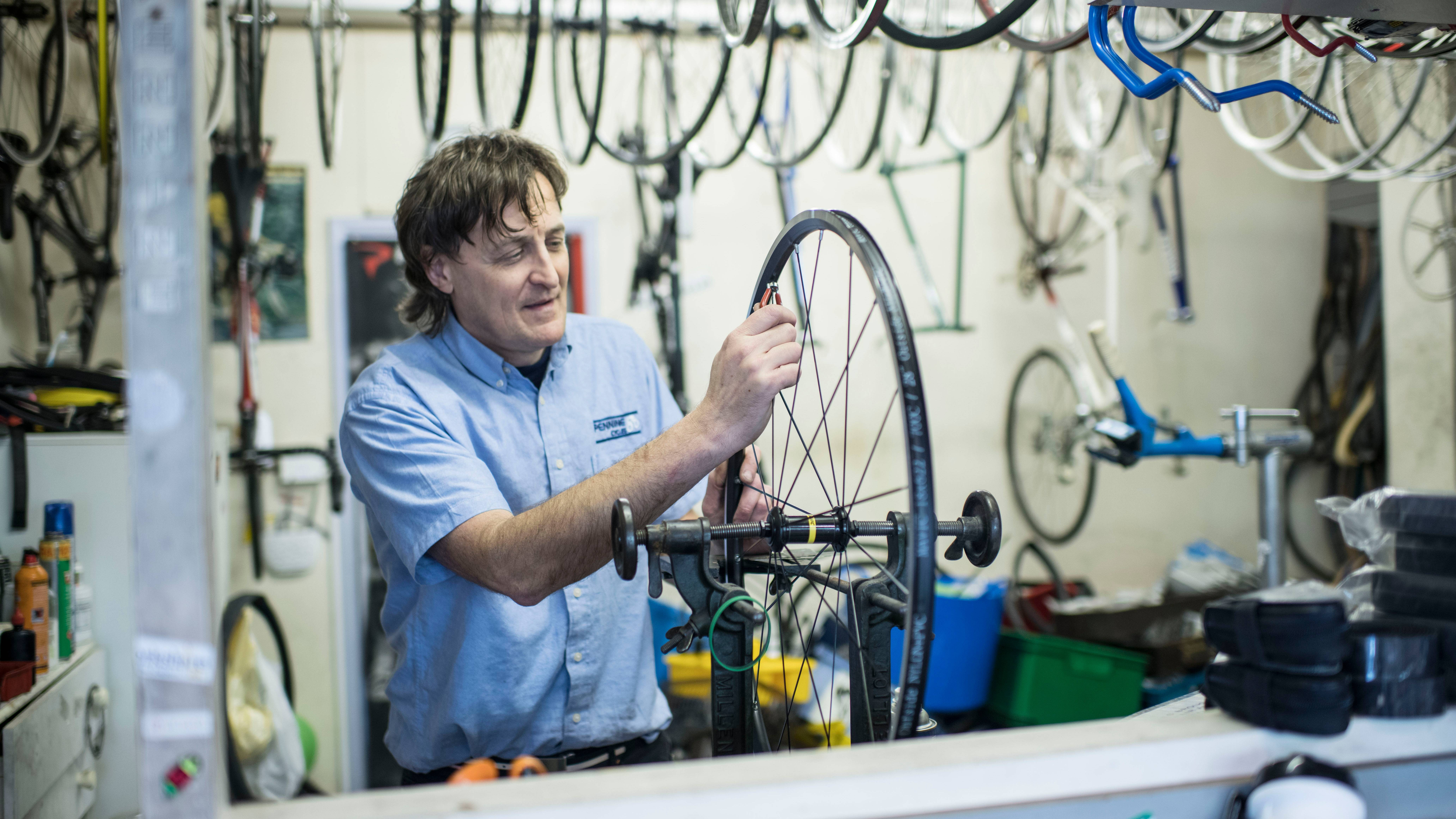 Bike construction at Pennine Cycles