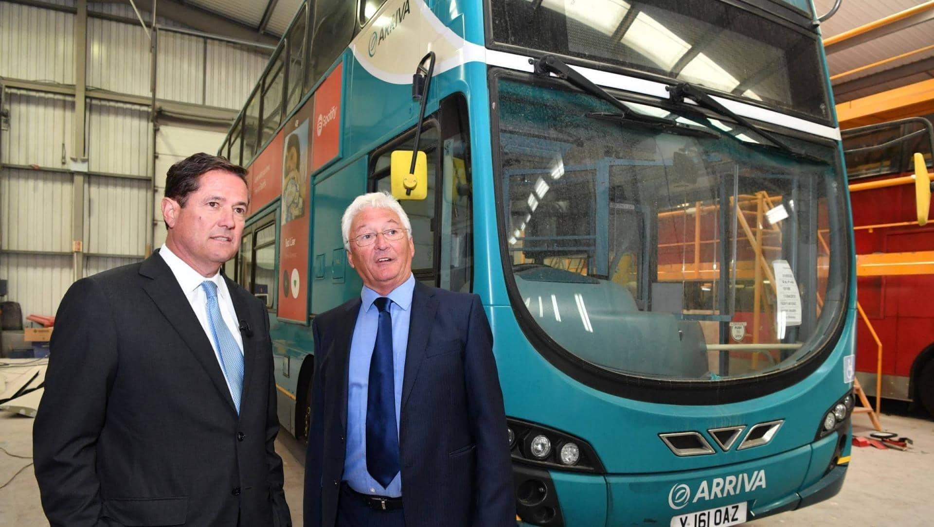 Jes Staley visiting a bus refurbishment company in Northumberland