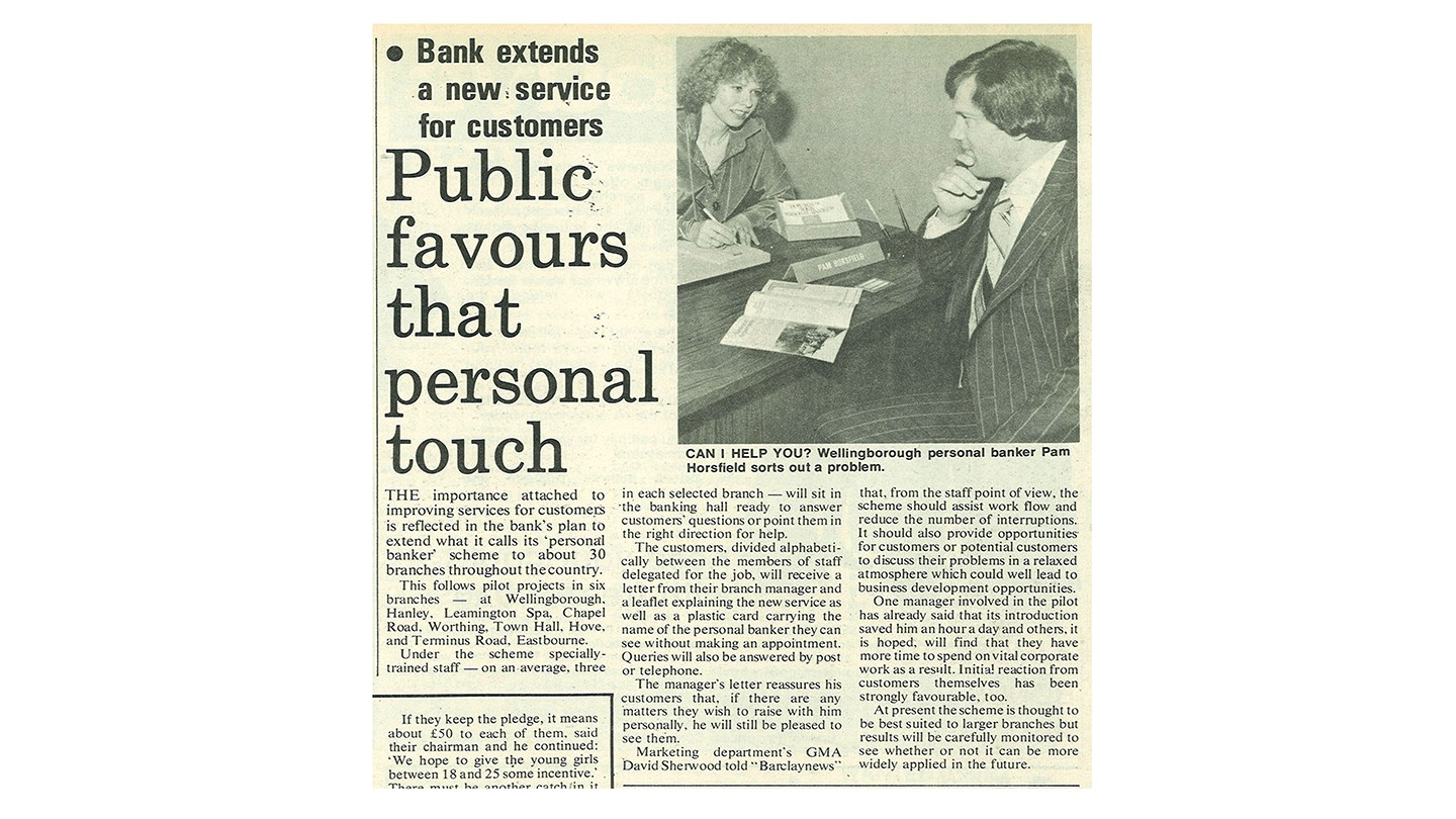 'Public favours that personal touch' was an article that ran in Barclays News in May 1978