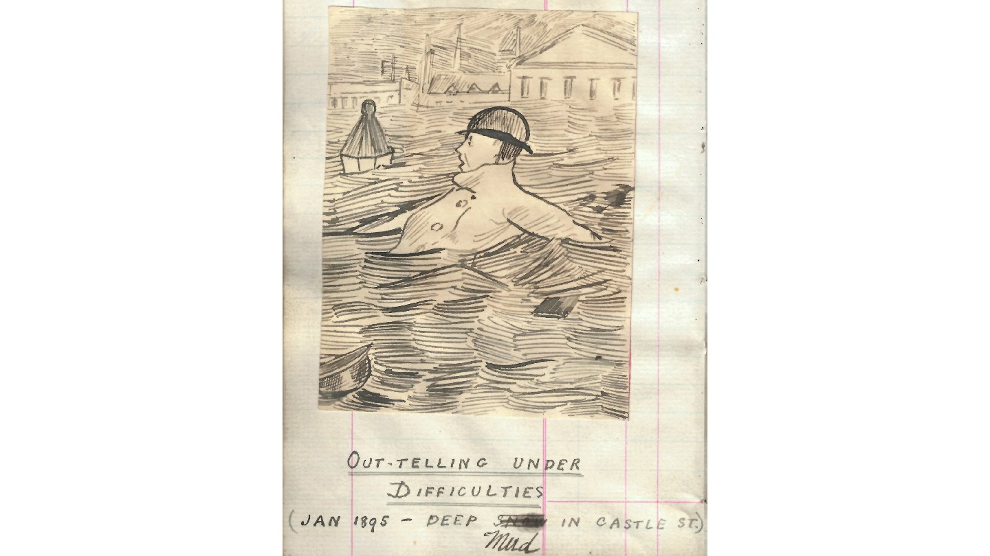 Illustration of out-teller drowning, titled 'Out-telling under difficulties' (January 1895)