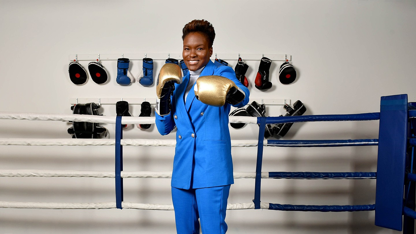 Nicola Adams wearing boxing gloves