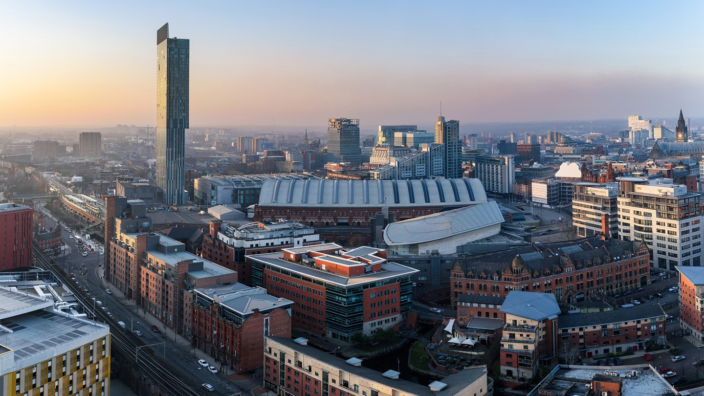 View of Manchester city skyline