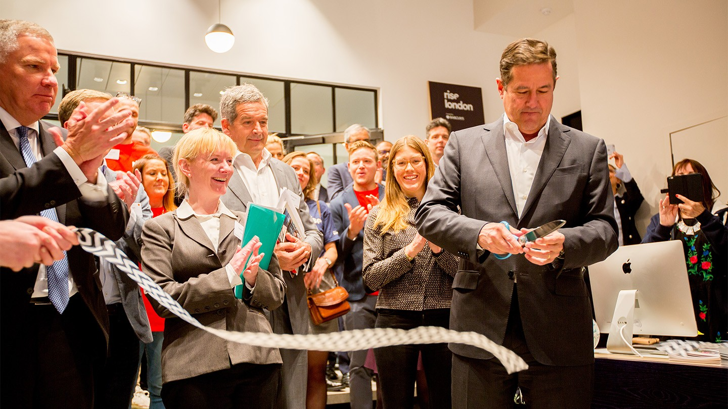 Barclays' Jes Staley cuts a ribbon at Rise London's opening day