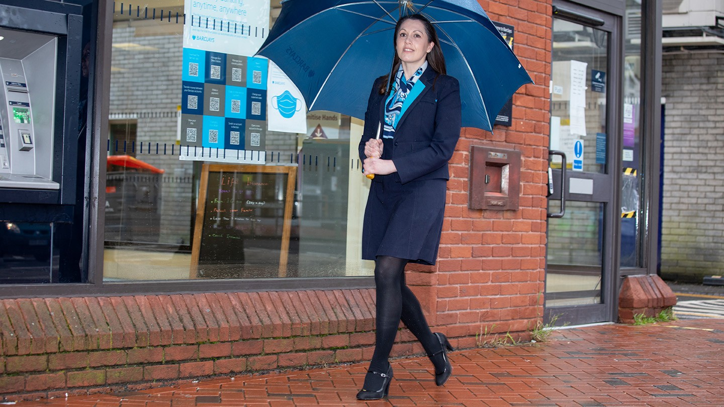 Lisa Griffiths, Local Manager at Barclays UK, outside a branch.