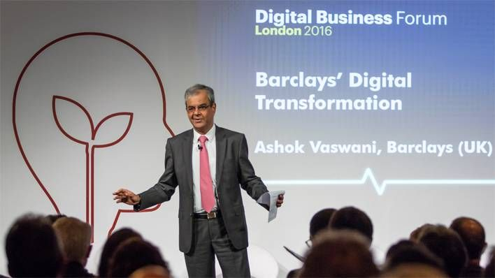 Ashok Vaswani giving a speech at the AT Kearney Digital Business Forum London 2016