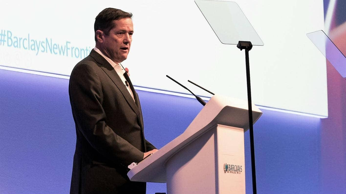 Jes Staley giving a speech at Barclays New Frontiers conference