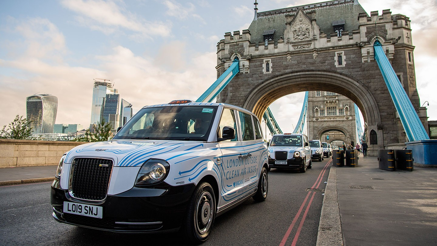 A fleet of Barclays Air cabs bringing Londoners a breath of fresh air for the next 12 weeks, with air inside as clean as Peak District National Park