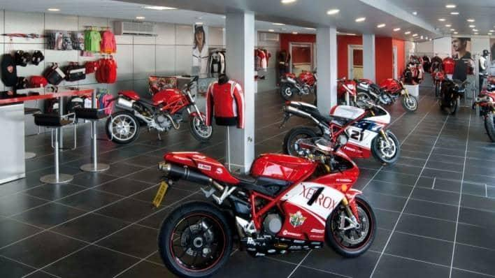 Ducati motorbikes in Manchester showroom