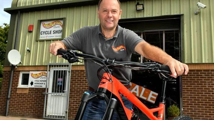 Director Chris Berry outside Hot Pursuit Cycles in Kingsteignton