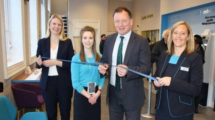 Kate Millar, Barclays Community Banking Director; Leaonie Watts, Barclays apprentice; Damian Collins MP; and Jo Roy, Barclays Branch Manager