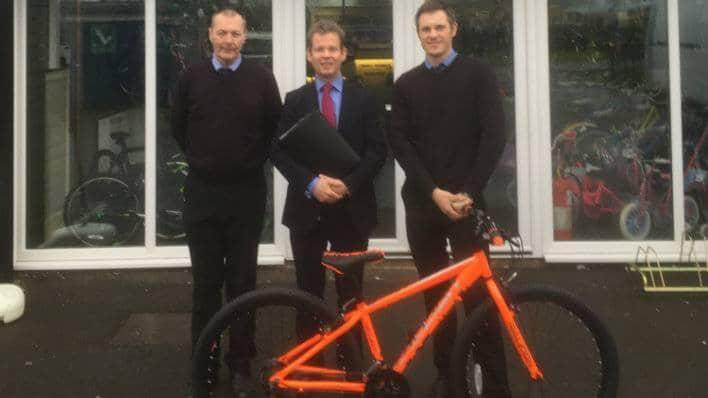 Paul Bonham, Terry Wright Cycles; Alex Spires, Barclays; and Ben Fletcher employee of Terry Wright Cycles