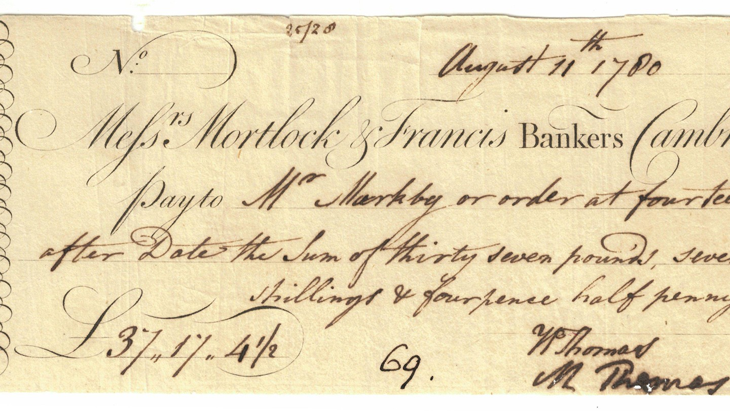 Mortlock cheque